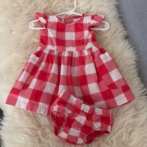 6 months Red & Pink plaid dress